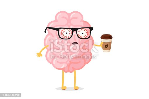 Tired fatigue bad emotion cute cartoon human brain character with hot coffee cup. Central nervous system organ wake up bad monday morning funny concept. Vector flat illustration