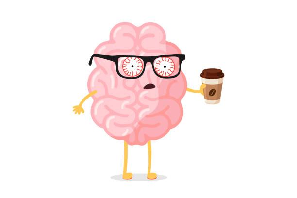 bildbanksillustrationer, clip art samt tecknat material och ikoner med trött trötthet dåliga känslor söt tecknad mänsklig hjärna karaktär med varm kaffekopp. centrala nervsystemets organ vakna dålig måndag morgon roligt koncept. vektor illustration - koffein