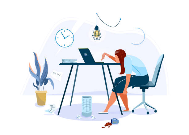 Tired female office worker sitting on the chair and trying work at the computer. Burnout concept vector background. Business flat cartoon illustration isolated on white backdrop vector art illustration