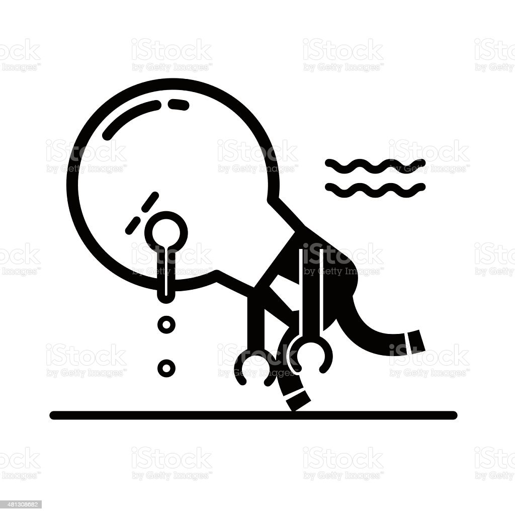 Tired idea light bulb characters sleeping and walking vector art illustration