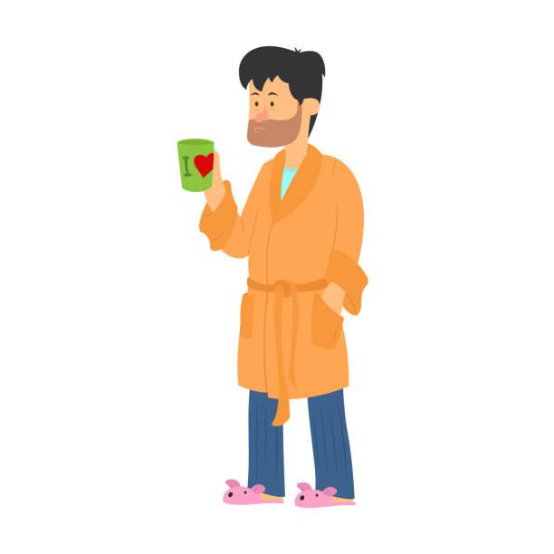 illustrazioni stock, clip art, cartoni animati e icone di tendenza di tired man drinking coffee on white background - accappatoio