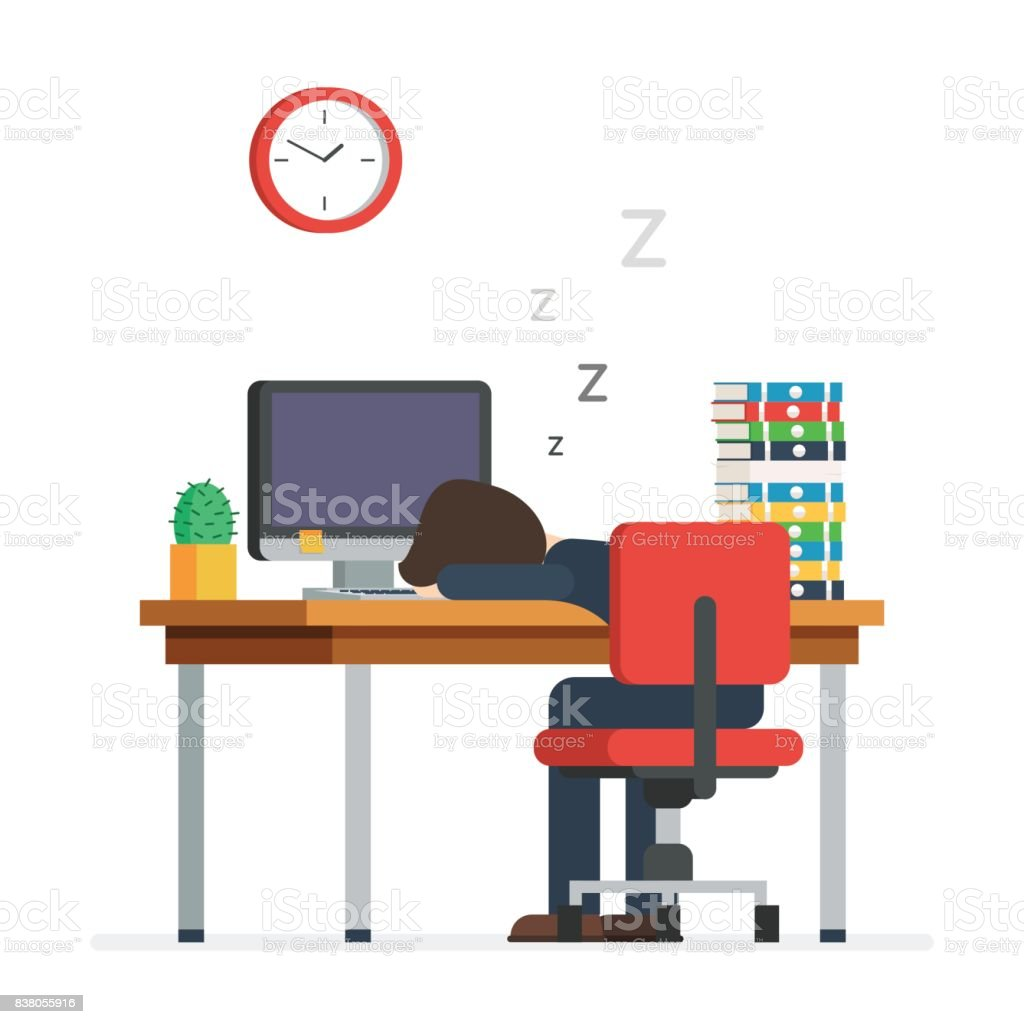 Tired man sleeping in the office vector art illustration