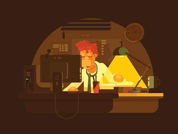 Tired man working late Tired man working on computer late at night. Vector illustration overworked stock illustrations