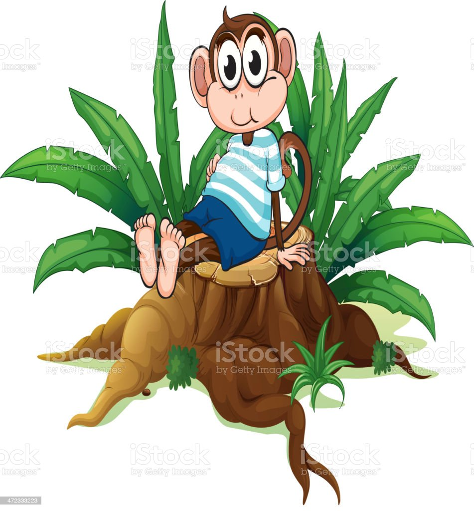 Tired monkey sitting above the wood royalty-free stock vector art