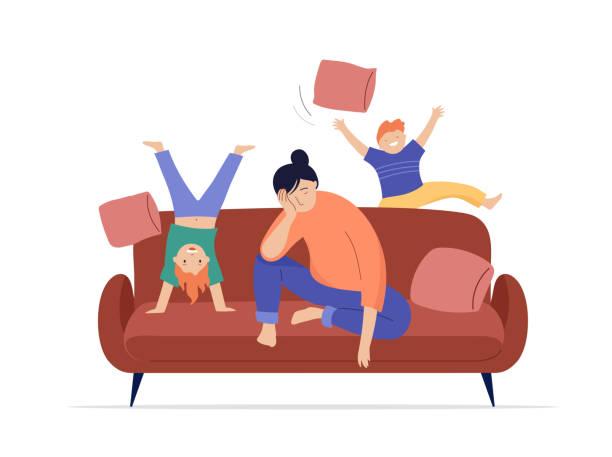 stockillustraties, clipart, cartoons en iconen met de vermoeide moeder zit op bank, spelen de kinderen, springen en lopen rond haar - couple fighting home