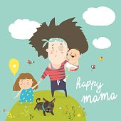 Tired mother walking with her kids. Vector illustration