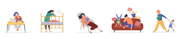 stockillustraties, clipart, cartoons en iconen met vermoeide moeders die proberen te werken, om te ontspannen, moeder van twee kinderen, spelen kinderen, springen en rennen om haar heen - couple fighting home