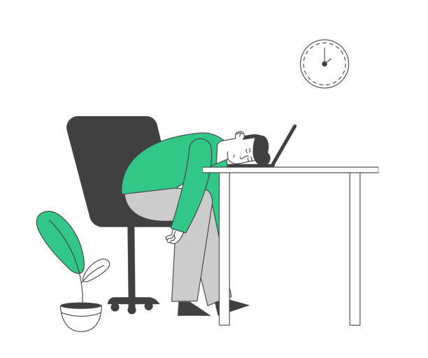 Tired or Boring Businessman Lying on Laptop. Emotional Burnout, Hard Work Business Man Dreaming at Working Place with Computer in Office, Sleeping Employee Cartoon Flat Vector Illustration, Line Art Tired or Boring Businessman Lying on Laptop. Emotional Burnout, Hard Work Business Man Dreaming at Working Place with Computer in Office, Sleeping Employee Cartoon Flat Vector Illustration, Line Art man sleeping stock illustrations