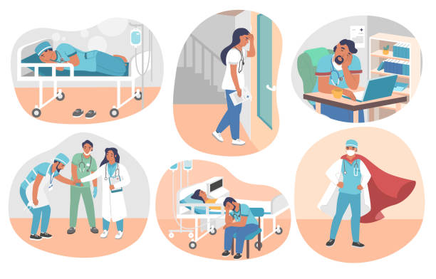 Tired overworked doctors, vector flat isolated illustration Tired overworked doctors, nurses, paramedics, vector flat isolated illustration. Exhausted healthcare professionals become doctors superheroes saving human lives fighting coronavirus Covid-19 disease. mental burnout stock illustrations