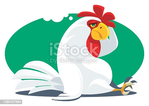 istock tired rooster sitting and thinking 1285437694