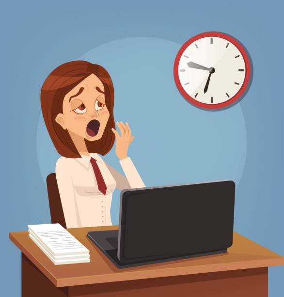 Tired sad busy office worker woman character yawn Tired sad busy office worker woman character yawn. Vector flat cartoon illustration tired woman stock illustrations