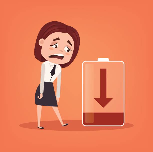 Tired sad office worker businessman character has no energy. Hard work Tired sad office worker businessman character has no energy. Hard work. Vector flat cartoon illustration tired woman stock illustrations