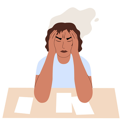Tired sad woman with headache. She hugged her head. In front of her is a table with papers. Problems at work, burnout, stress, psychological trauma, crisis. Cartoon female character isolated on white