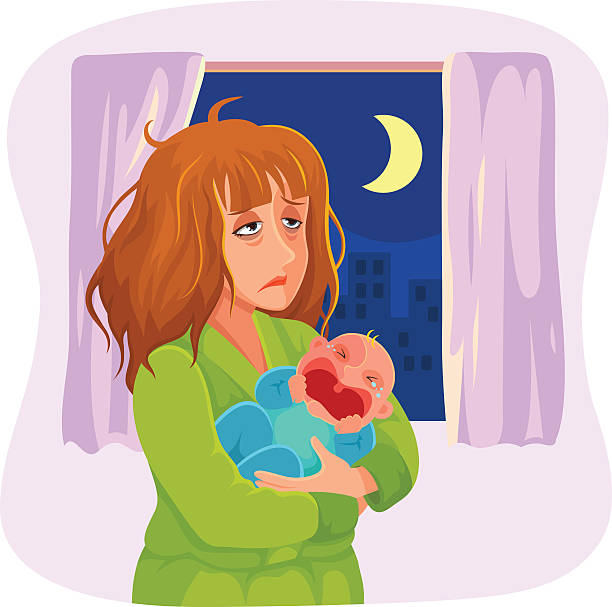 tired sleepy mother tired mother carrying a crying baby at night tired woman stock illustrations