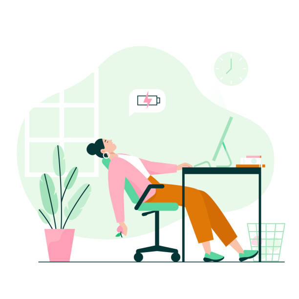 Tired woman sleeping at the desk. Work burnout, low energy at work. Flat vector illustration. mental burnout stock illustrations