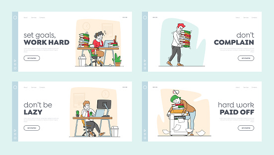Tired Workers in Office Landing Page Template Set. Business Characters Sleep on Workplace. Laziness, Emotional Burnout