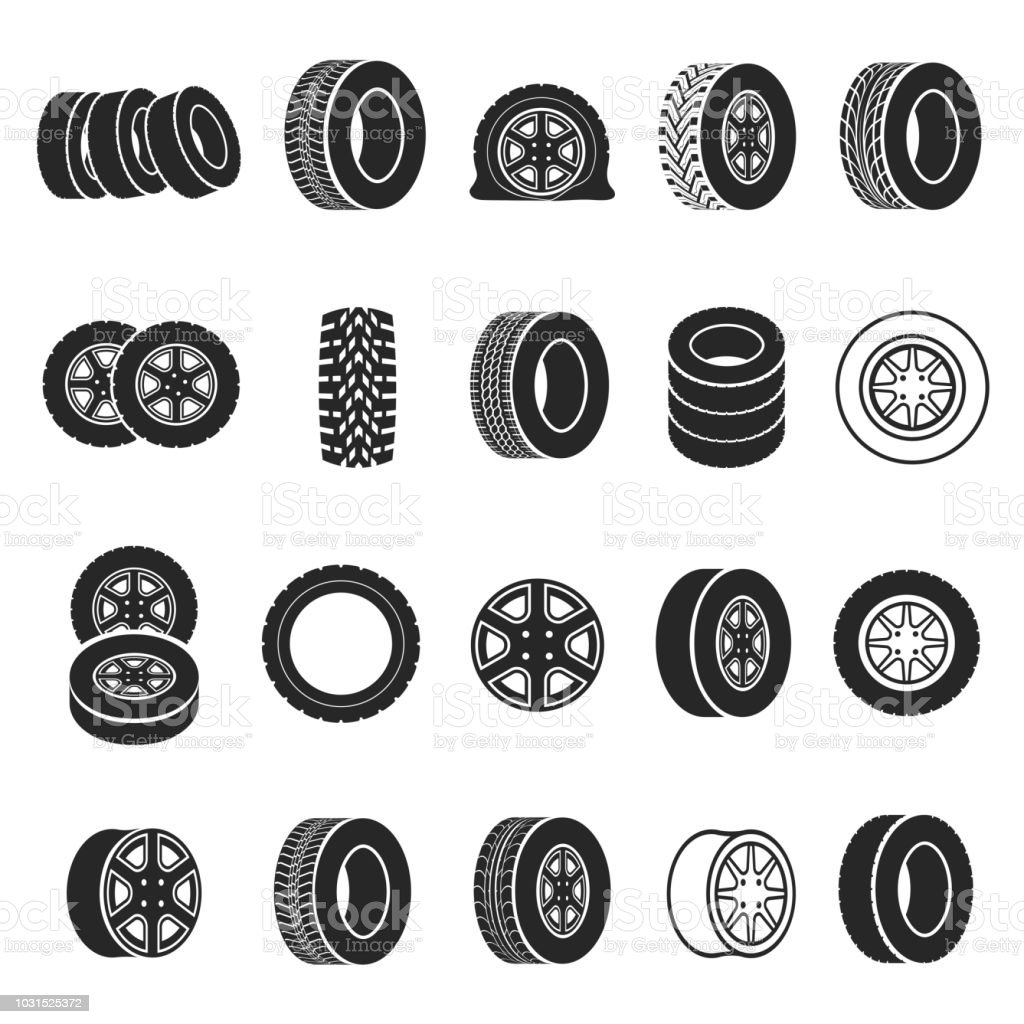 tires and wheels icon set stock vector art more images of at the