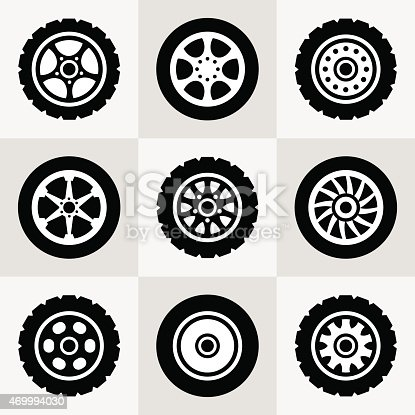 Tires and wheels icons set. Vector illustration.