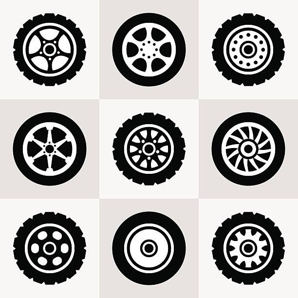 illustrations, cliparts, dessins animés et icônes de pneus roues et icônes set - alliage