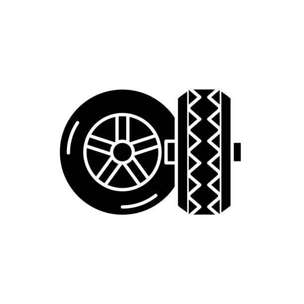 stockillustraties, clipart, cartoons en iconen met banden zwart pictogram, vector teken op geïsoleerde achtergrond. banden concept symbool, afbeelding - tractieapparaat