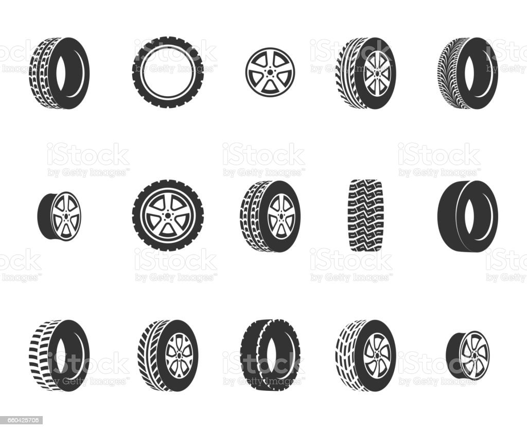 Tires, wheel disks auto service vector icons vector art illustration