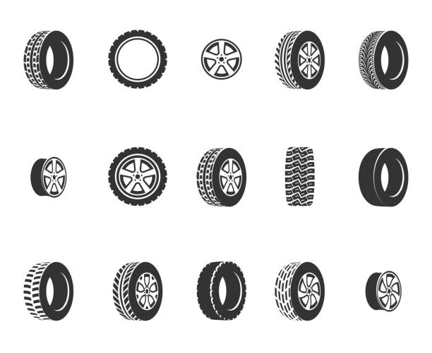 Tires, wheel disks auto service vector icons Tires, wheel disks auto service vector icons. Auto black wheel, illustration of automobile rubber wheel tire vehicle part stock illustrations