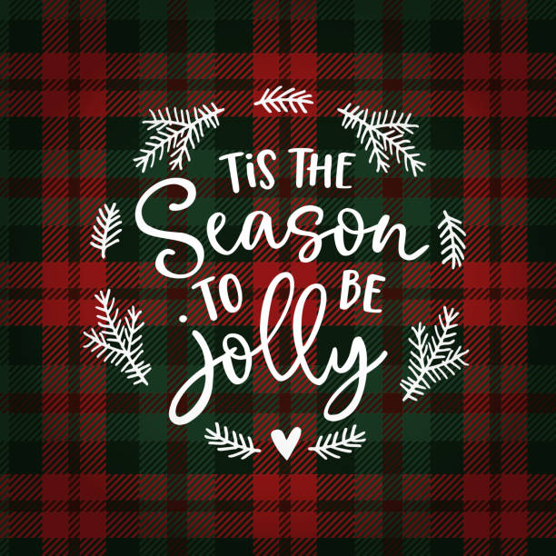 ilustrações de stock, clip art, desenhos animados e ícones de tis the season to be jolly. christmas greeting card, invitation with fir tree wreath. hand lettered white text over tartan checkered plaid. winter vector calligraphy illustration background. - tradição