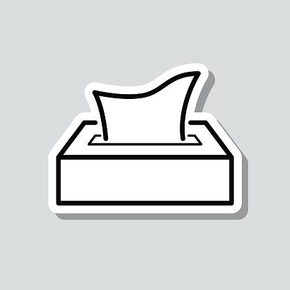 Tissue box. Icon sticker on gray background