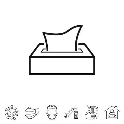 Tissue box. Line icon - Editable stroke
