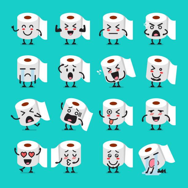 Tissue paper emoji set Tissue paper emoji set. Funny cartoon emoticons bathroom clipart stock illustrations