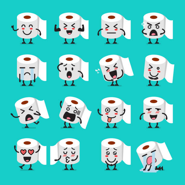 tissue paper emoji set - papier toaletowy stock illustrations