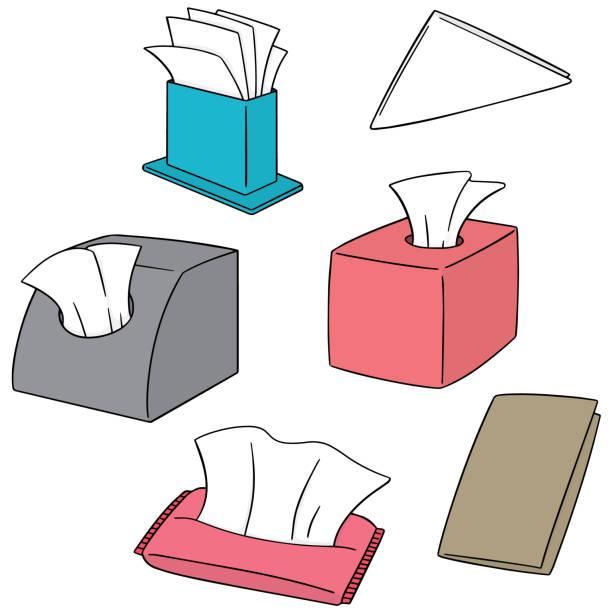 stockillustraties, clipart, cartoons en iconen met papieren zakdoekje - servet