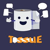 tissue  paper roll character design - vector illustration