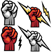 This Titan fist gripping a lighting strike is a great additional to any electrifying design.