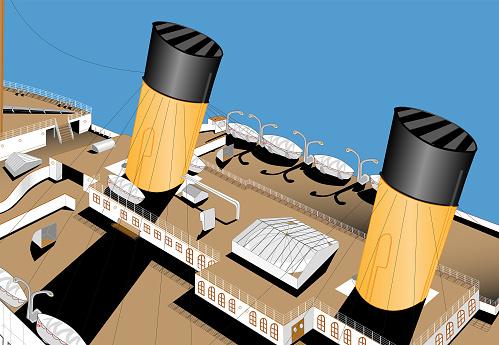 Titanic aerial deck view, bow. Famous transatlantic sailing in the ocean. Big cruise transatlantic. Old big passengers ship. Detailed vintage famous sunken transatlantic. First class passengers. Vector illustration.