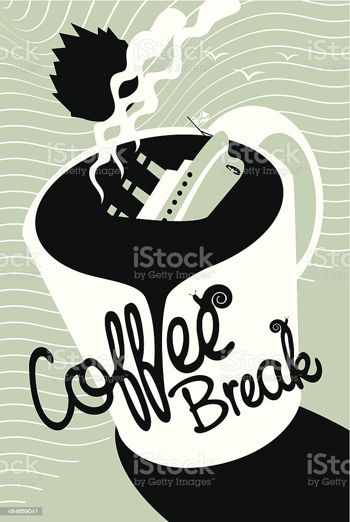 Titanic coffee vector art illustration