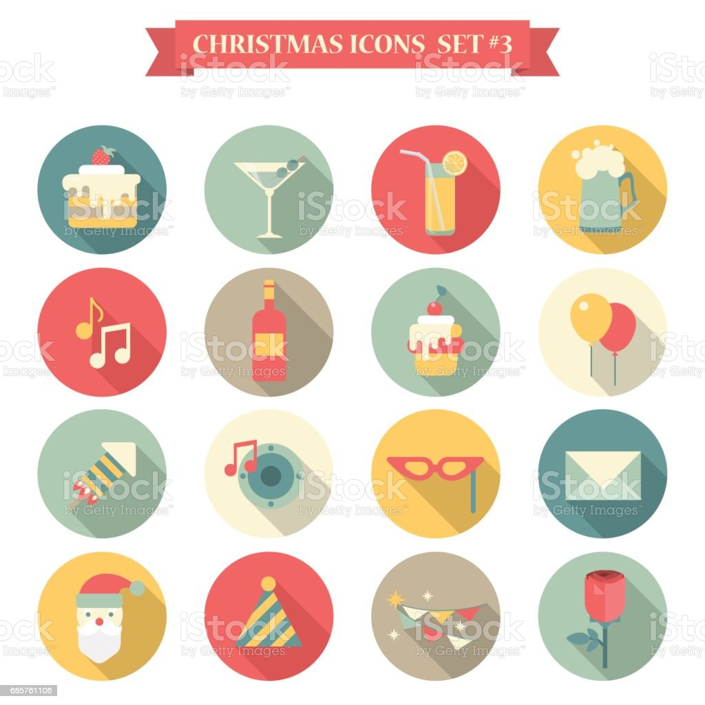 Title Christmas New Year icon set flat style sweets drinks decoration cake martini lemonade beer music wine santa cap rose envelope mask. Collection of holiday icons web element infographics print template. royalty free title christmas new year icon set flat style sweets drinks decoration cake martini lemonade beer music wine santa cap rose envelope mask collection of holiday icons web element infographics print template stockvectorkunst en meer beelden van begroeten