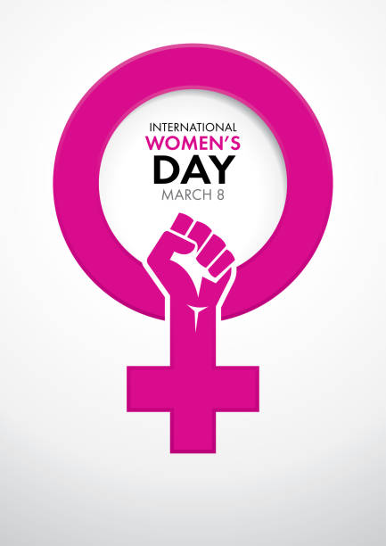 title international women's day inside the symbol of woman in pink with a closed fist inside the symbol - alejomiranda stock illustrations