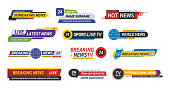 TV title news bar logos, news feeds, television, radio channels. Banner of live television broadcast media title, streaming show news sport channel media tv bar vector isolated