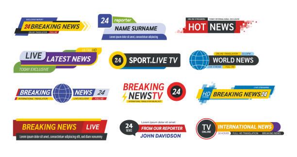 tv 타이틀 뉴스 바 로고, 뉴스 피드, 텔레비전, 라디오 채널. - 역사적 중대 사건 stock illustrations