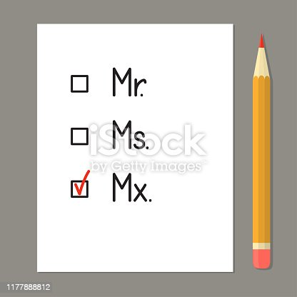 Check boxes with three title options. Red tick against the gender neutral honorific Mx