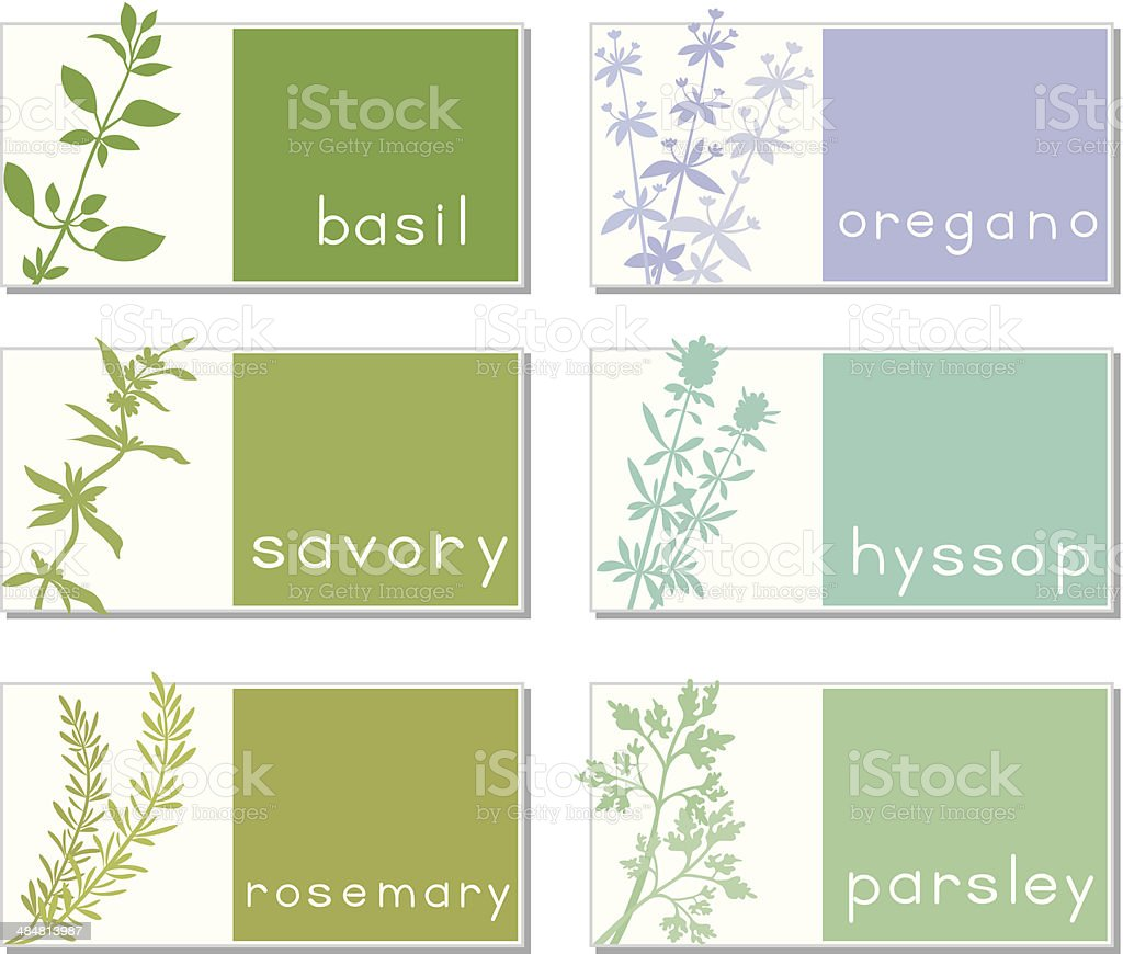 Titled Stickers With Herbs vector art illustration