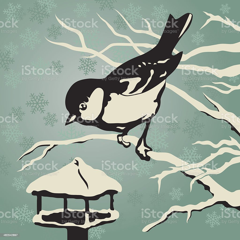 Titmouse sitting on a branch near the feeder in winter vector art illustration
