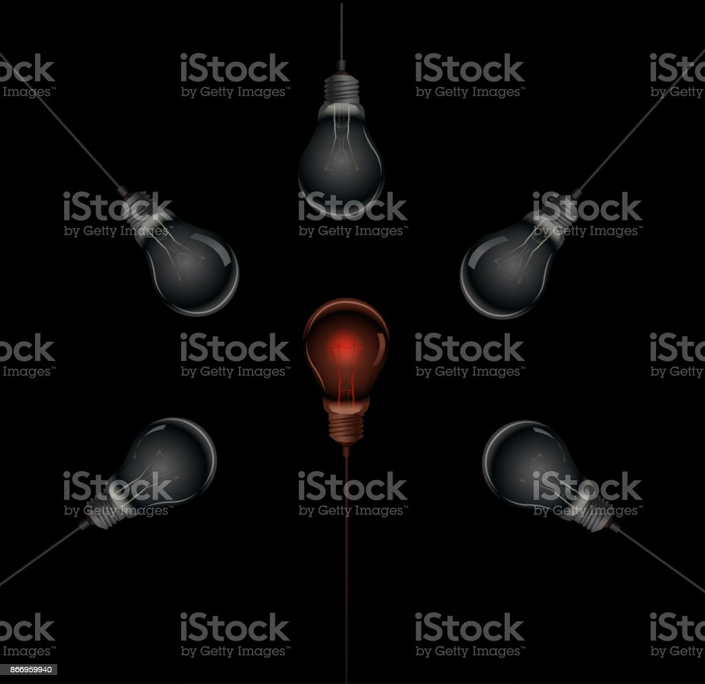 to be different, red hot bulb in the middle of the dark bulbs, hot idea, vector art illustration