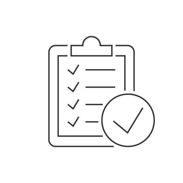 在白色背景上的剪貼簿線性圖示上執行檢查清單向量藝術插圖