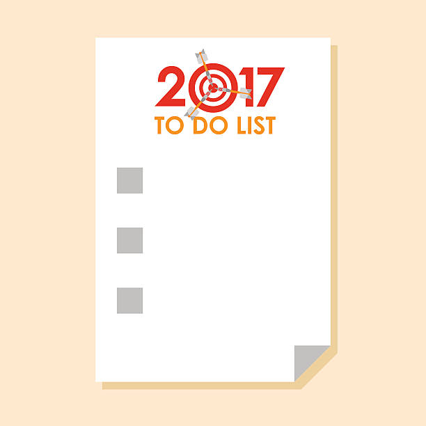 To do list 2017 with dart instead of zero vector art illustration
