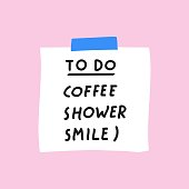 istock To do list for morning routine: coffee, shower, smile. 1254981208