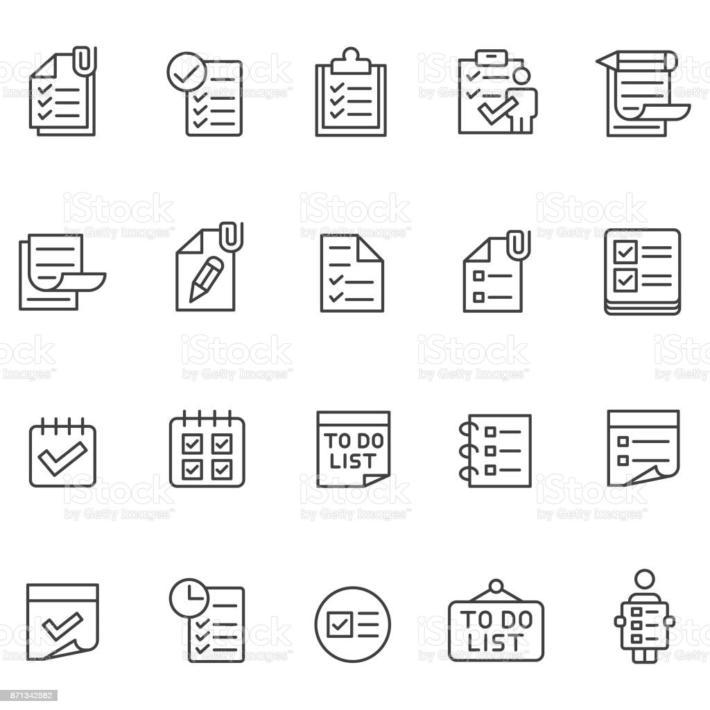 To do list icon set vector art illustration