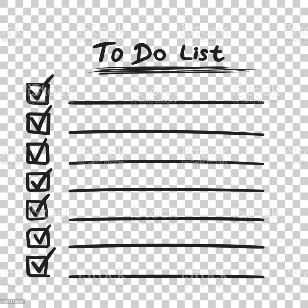 To do list icon with hand drawn text. Checklist, task list vector illustration in flat style on isolated background. vector art illustration