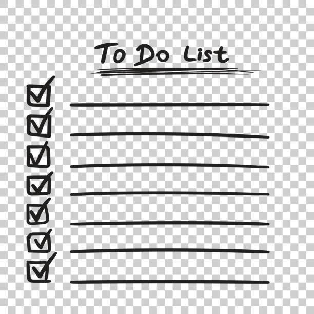 illustrazioni stock, clip art, cartoni animati e icone di tendenza di to do list icon with hand drawn text. checklist, task list vector illustration in flat style on isolated background. - to do list